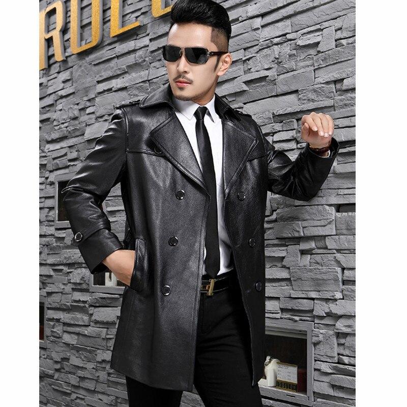 Vintage Leather Jacket Men Genuine Cow Leather Jacket Men Detachable Liner Duck Down Winter Coat Jaqueta De Couro DS192 YY777