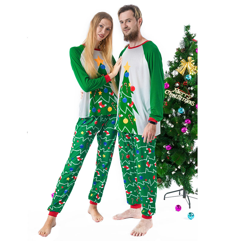 Father <font><b>Mother</b></font> Kids Son <font><b>Daughter</b></font> <font><b>Pajamas</b></font> 2pcs Clothes <font><b>Sets</b></font> Hot Parent Kids Christmas Tree Printing Family Matching Outfits Suit image