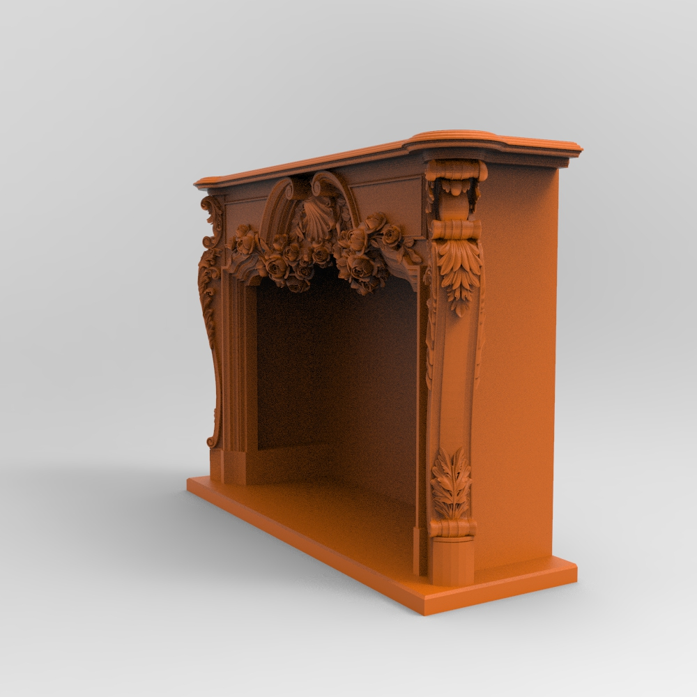 Carved Fireplaces 3D Designs For CNC Wood Stone Engraving Carving 4 Designs Parts And Whole Design