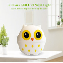 Touch Sensor 3 Colors LED Owl Night Light USB Rechargeable Silicone Bird Lamp Bedroom Bedside Lamp for Children Kids Baby Gift цены