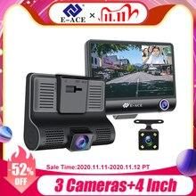 E ACE 자동차 Dvr 3 카메라 렌즈 4.0 인치 비디오 레코더 대시 캠 자동 등록자 듀얼 렌즈 지원 후면보기 카메라 DVRS 캠코더