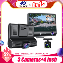 E ACE lente de cámara Dvr 3 para coche, grabadora de vídeo de 4,0 pulgadas, cámara de salpicadero, grabación automática, doble lente, compatible con cámara de visión trasera, videocámara DVRS