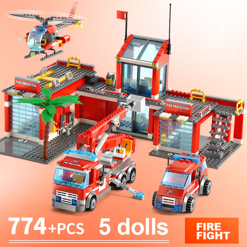 561PCS 12 IN 1 Building Blocks Compatible with LegoINGlys City Bricks Toys Aircraft Educational 7208 Fire Truck Department Block image