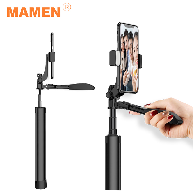 MAMEN 80-160cm Bluetooth Selfie Stick Handheld Video Stabilisator Mit Stativ Für Xiaomi HUAWEI iPhone Smartphones Schießen