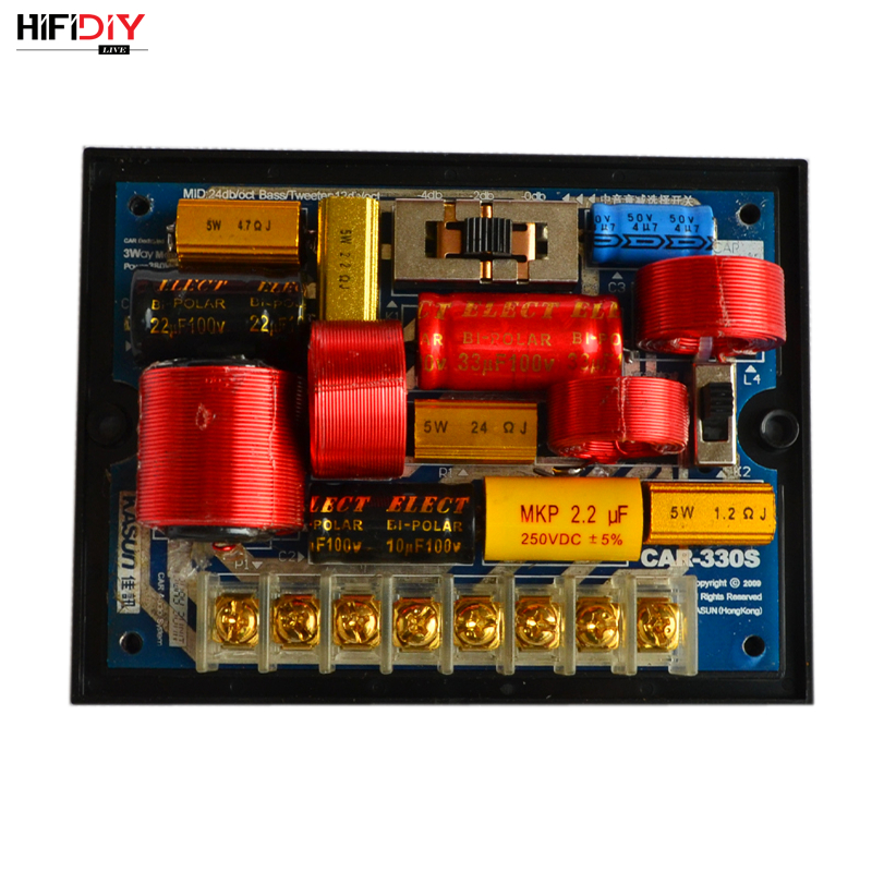 HIFIDIY LIVE CAR-330S 3 Way 3 Speaker Unit (tweeter + Mid+bass )HiFi CAR DIY Speakers Audio  Frequency Divider Crossover Filters
