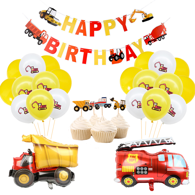 Construction Birthday Party Supply Vehicle Truck Banner Balloon Set For Kids Boy Party Fireman Firefighter Party DIY Decoration