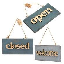 Cartel de madera azul Vintage abierto de madera cerrado signo de bienvenida placa para casa cafetería tienda puerta colgante signo colgante decoración artesanías