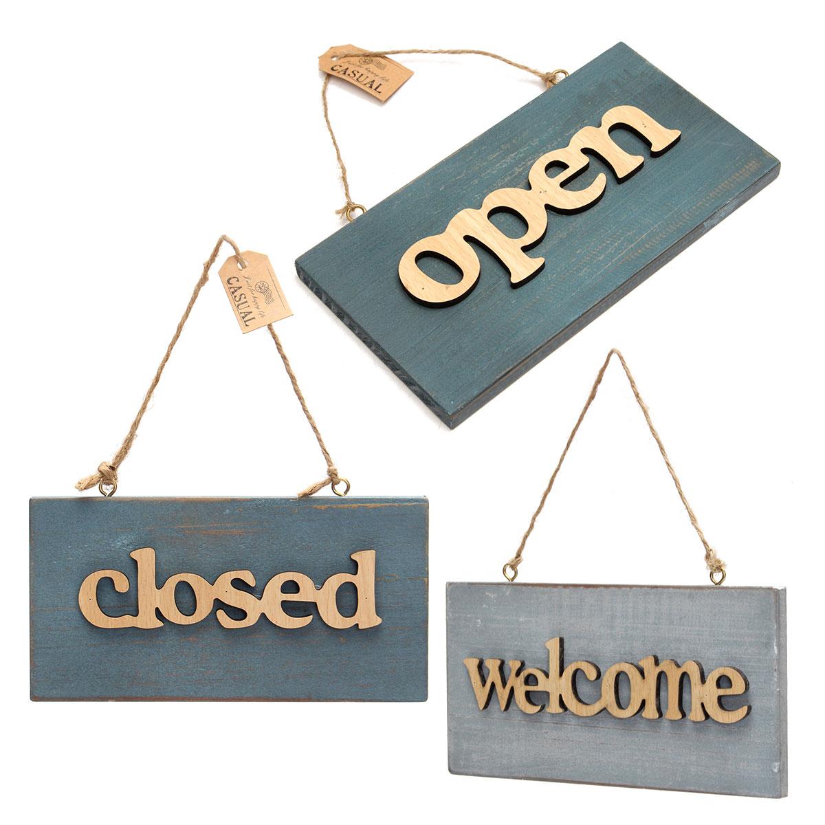 Vintage Blue Wood Poster Wooden Open Closed Welcome Sign Plaque for Home Cafe Shop Door Hanging Sign Hanging Decoration Crafts