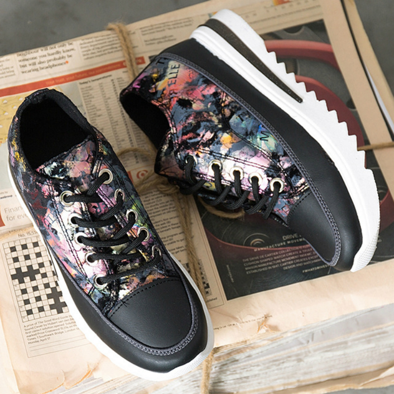 Women Sneakers Canvas Shoes Wedges High Heel Height Increasing Platform Student Fashion Round Toe Lace up Zapatos De Mujer