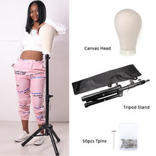 "Alileader Professional Adjustable Tripod Stand With Canvas Head For Making Wigs Kit 21-24"" Mannequin Head With Free Gift T-Pins(China)"