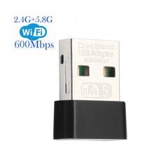 AC 600 mb/s USB bezprzewodowy 2.4G i 5G Wifi Adapter o wysokiej prędkości karta sieciowa RTL8811 dwuzakresowy 802.11AC antena do laptopa pulpit