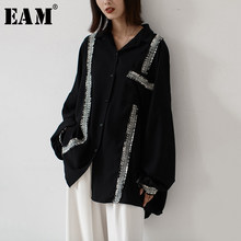 [EAM] camicetta asimmetrica da donna di grandi dimensioni divisa nuova camicia a maniche lunghe con risvolto manica lunga moda marea primavera autunno 2021 1H640