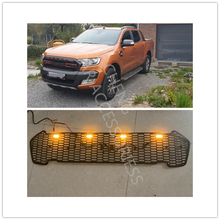 цена на OWN DESIGN MODIFIED FRONT RACING GRILLE GRILL 4 ORANGE LED BUMPER MASK COVER TRIMS FIT FOR RANGER 2015-2018 T7 XTL CAR GRILLS