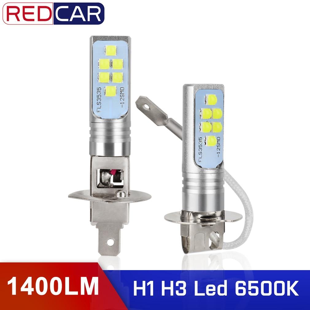 2Pcs H1 LED Bulbs H3 LED Car Driving Fog Lights 1400LM 6500K 12 3535SMD Super Bright White Lighting High Power 12V 24V Auto Lamp