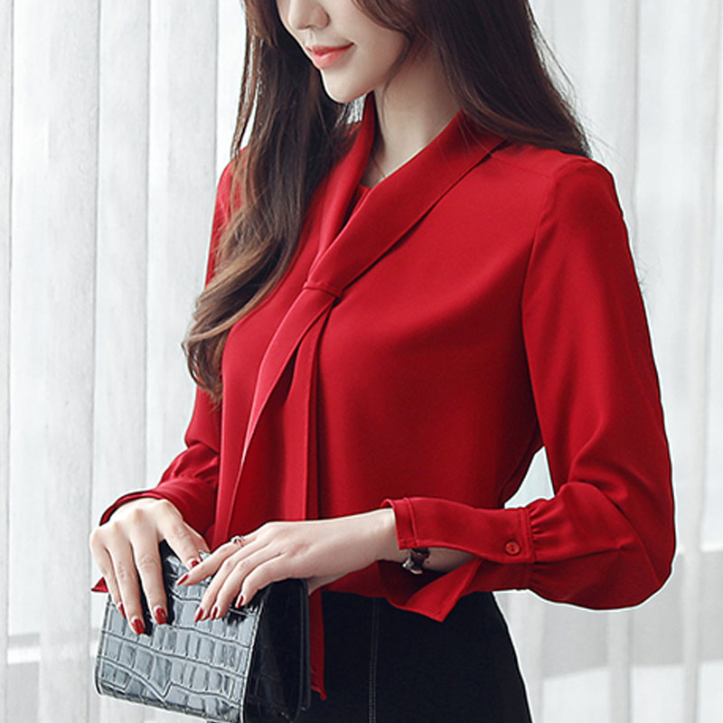 Blouse Women 2019 Office Long Sleeve Top Chiffon Blouse Blusas Femininas Elegante Bow Solid V-Neck Red Clothing Ladies Tops 0412