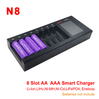 ISDT N8 LCD Display Universal Battery Charger 8-Slot Speedy Smart Battery Fast Charger for Rechargeable Batteries AA AAA Li-lon