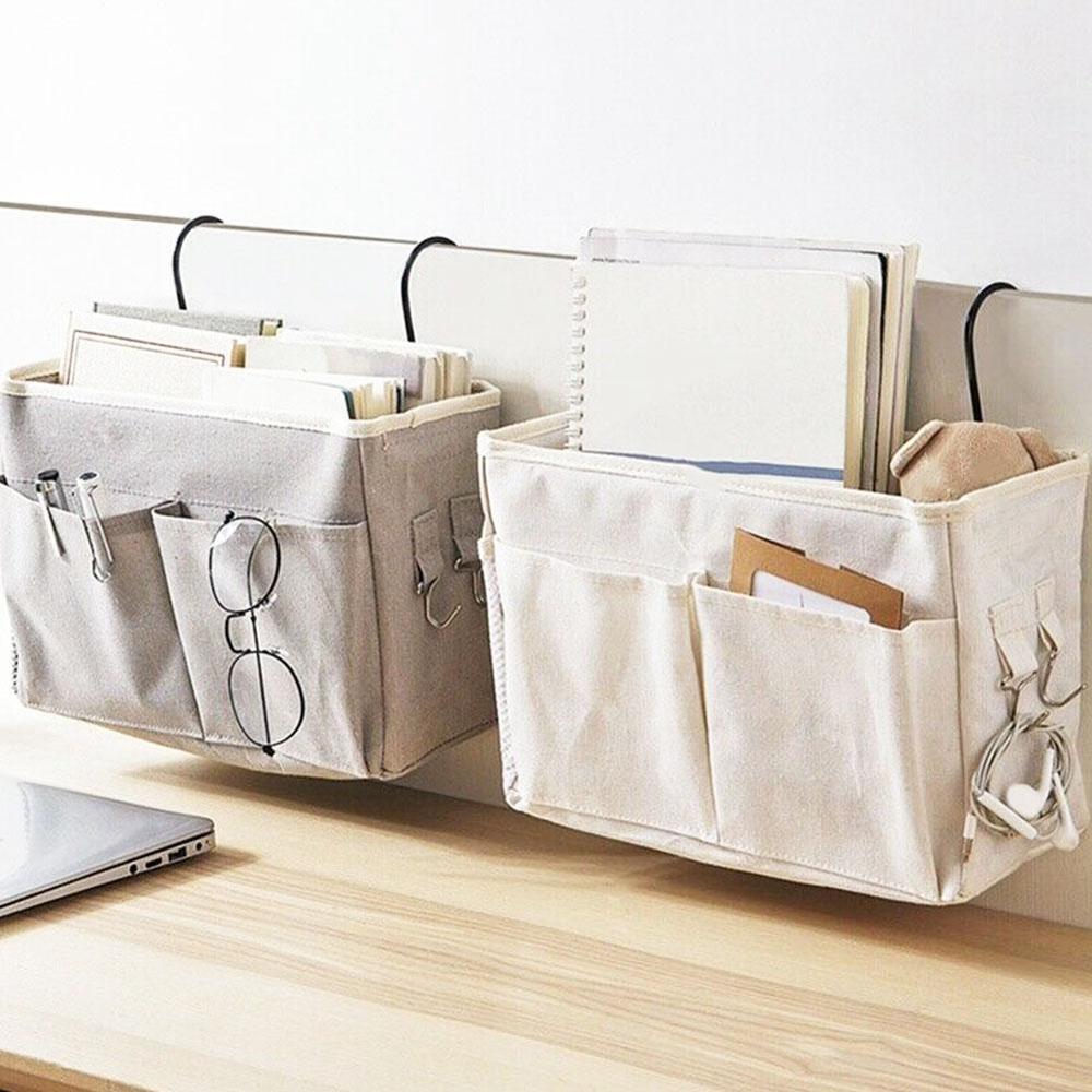 Hanging Storage Bag Bedside Storage Organizer Dormitory Phone Book Magazine Waterproof Storage Bag Holder With Hook Bed Pocket