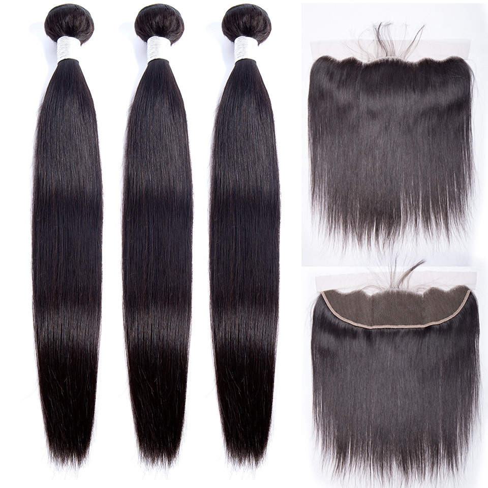 Maxine Bundle With Frontal Malaysian Straight Hair Weave Non Remy Human Hair Bundle and 13x 4 Lace Frontal Closure with Bundles-in 3/4 Bundles with Closure from Hair Extensions & Wigs    1