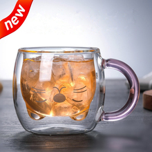 Simple Style Handmade Milk Cup Bear Double-Layer High Boron Glass Heat-Resistant Juice Drink Cup Insulated Student Breakfast Cup