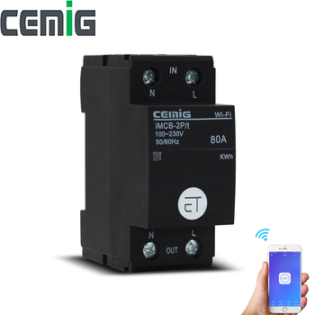 2P 80A WiFi Energy Monitor Intelligent Circuit Breaker  Remote-Control By Tuya App Compatible With Alexa And Google Home