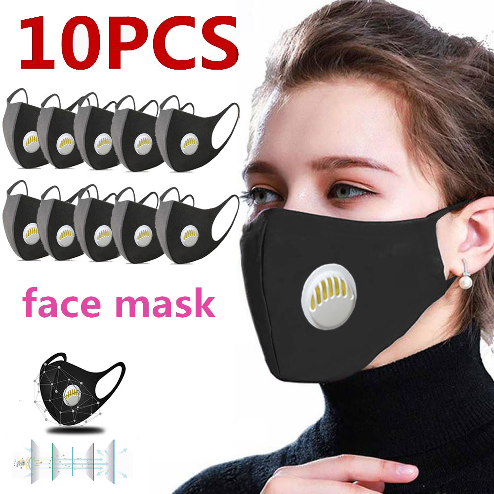 10PCs Black Mouth Mask Reusable Valved With 1 Filters Face Mask Washable Mask Respirator Unisex Facial Masks For Men Women