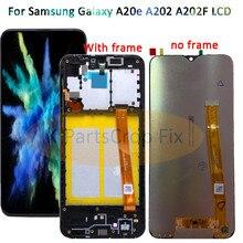 Samsung Galaxy A20e A202 A202F A202DS ekran dokunmatik ekran Digitizer meclisi A202 A202F/DS SAMSUNG A20e LCD çerçeve ile