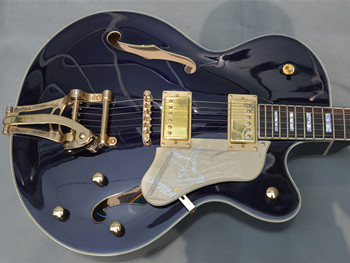 Top Quality Blue Color Electric guitar,Golden Bigsby Tremolo, Factory Hollow Maple Body Jazz Guitar,Free Shipping new style china custom f hollow body jazz electric guitar sunburst color jazz guitarra vibrato system