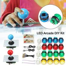 LED Arcade DIY Kit 2-Player DIY Arcade Joystick Kit with 20 LED Arcade Buttons and 2 Joysticks And 2 USB Encoder Kit and Cables