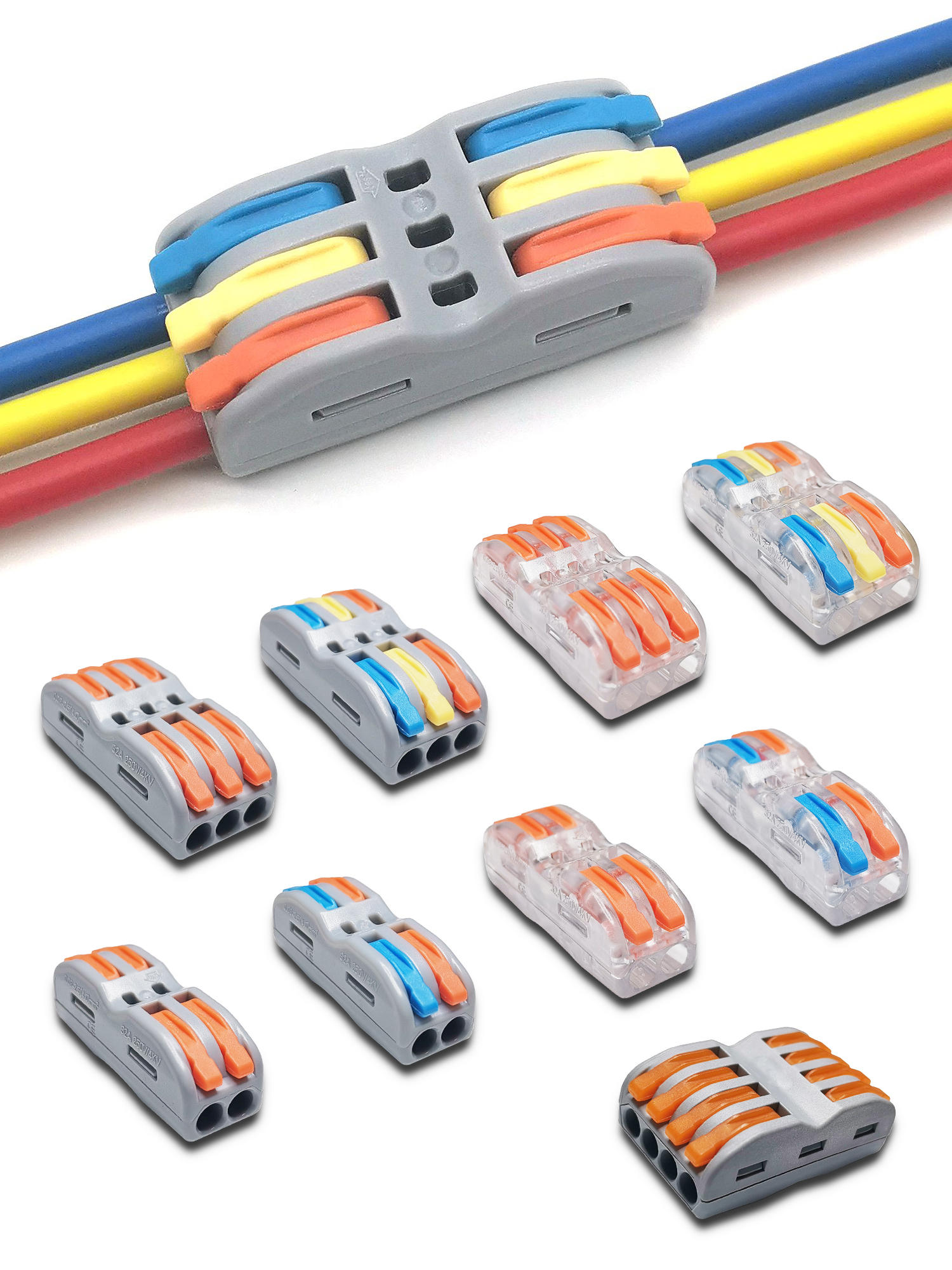 Cable-Connectors Spring Push-In-Terminal-Block Compact Fast-Wire Mini Splicing Universal