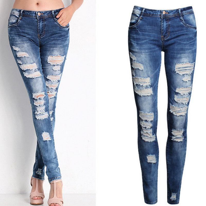 European And American-Style Boutique Stretch Cotton With Holes Boyfriend Pencil Skinny 2020