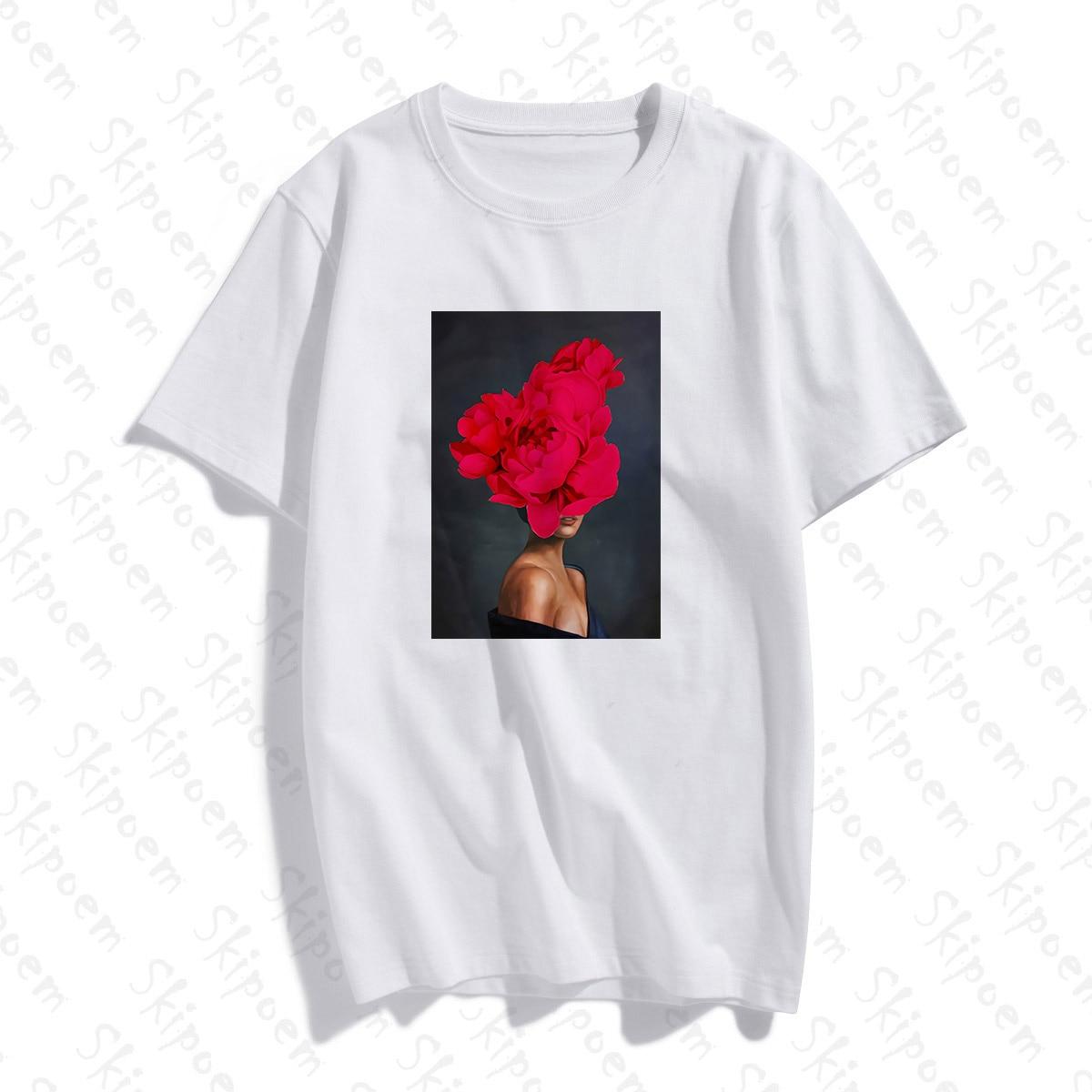 Photography Art Fashion Sexy Woman With Flower T-shirt Women Aesthetic Kawaii Cotton Short Sleeve Plus Size Top Tees Streetwear