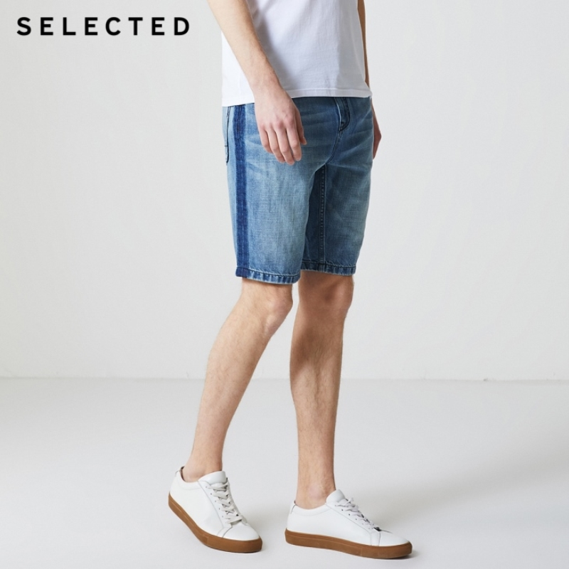 SELECTED Men's Cotton And Linen Faded Denim Shorts C|4192S3501
