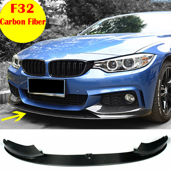 For 2014 2015 2016 2017 2018 2019 BMW F32 435i M Sport M-Tech Front Bumper Chin Lip Spoiler Splitters Carbon Fiber ABS