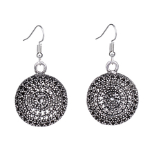 EQ043 Unique Designer Tibetan Silver Hollow Round Dangle Fashion Retro Vintage Earrings For Women  Wholesale 2014 NEW Jewelry