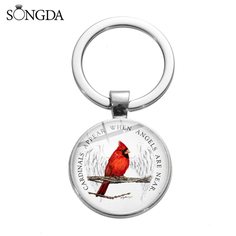 SONGDA Cardinals Bird Alloy Keychain North America Red Parrot Art Picture Glass Cabochon Pendant Key Ring Car Key Chain Talisman
