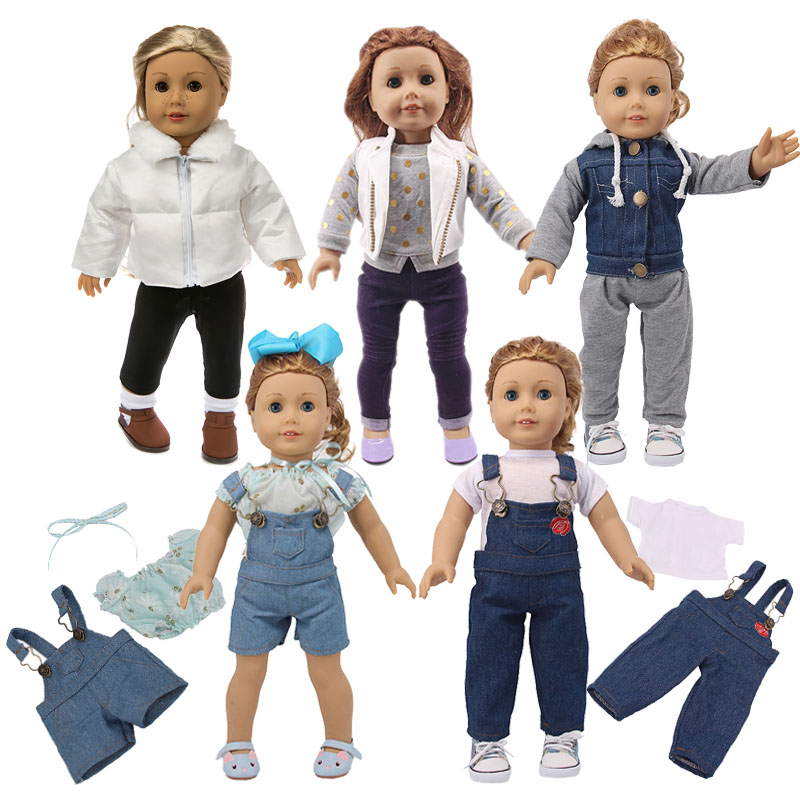 Doll 2Pcs=Clothes+Pants Fashion Set Fit 18 Inch American Doll&43 Cm Born Baby,Generation,Birthday Girl's Toy Gift