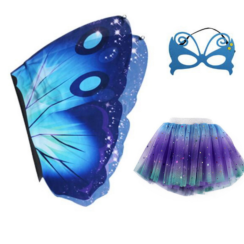 Image 2 - Halloween Girls Butterfly Print Wings Shawl Scarves Poncho Costume Kids Fairy 3 Layers Tutu Skirts Mask Cosplay Party CostumeGirls Costumes   -