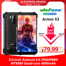 "Ulefone שריון X3 5.5 ""HD IP68 Waterproof Smartphone 2GB 32GB אנדרואיד 9.0 Quad Core פנים מזהה נעילה 3G טלפון נייד 5000mAh"