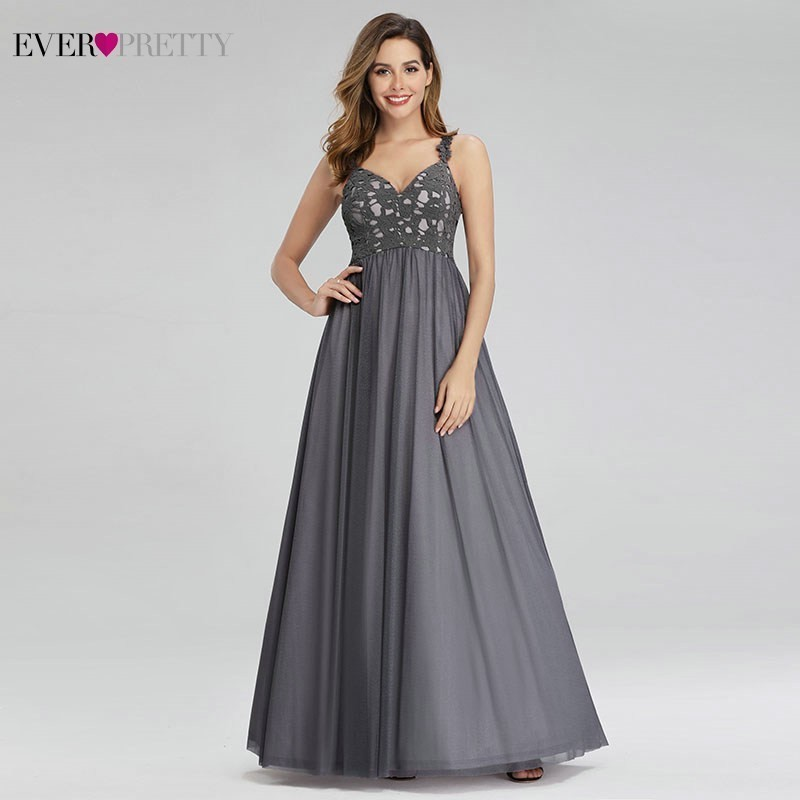 Elegant Grey Prom Dresses Ever Pretty A-Line Spaghetti Straps Deep V-Neck Sleeveless Tulle Formal Party Gowns Vestidos De Gala