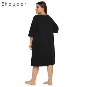 Image 5 - Ekouaer, camisón de talla grande para mujer, bata de media manga con cremallera y bolsillos, ropa de descanso, vestido de noche para señora, camisón, ropa de dormir, XL 5XL