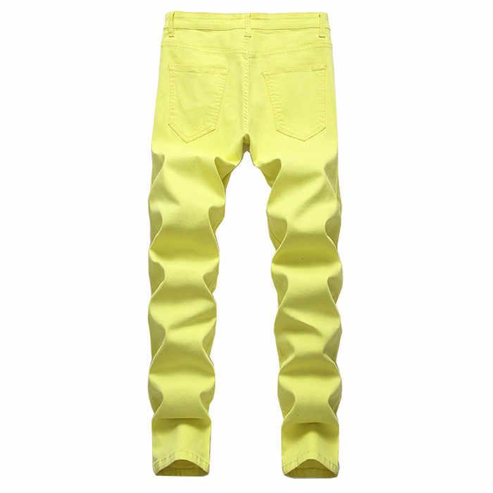 2020 nuovi Jeans di Moda Maschile di Business Casual Gamba Skinny Giallo Rosso Dei Jeans Degli Uomini Punk Pantaloni Maschili Streetwear Moda masculina