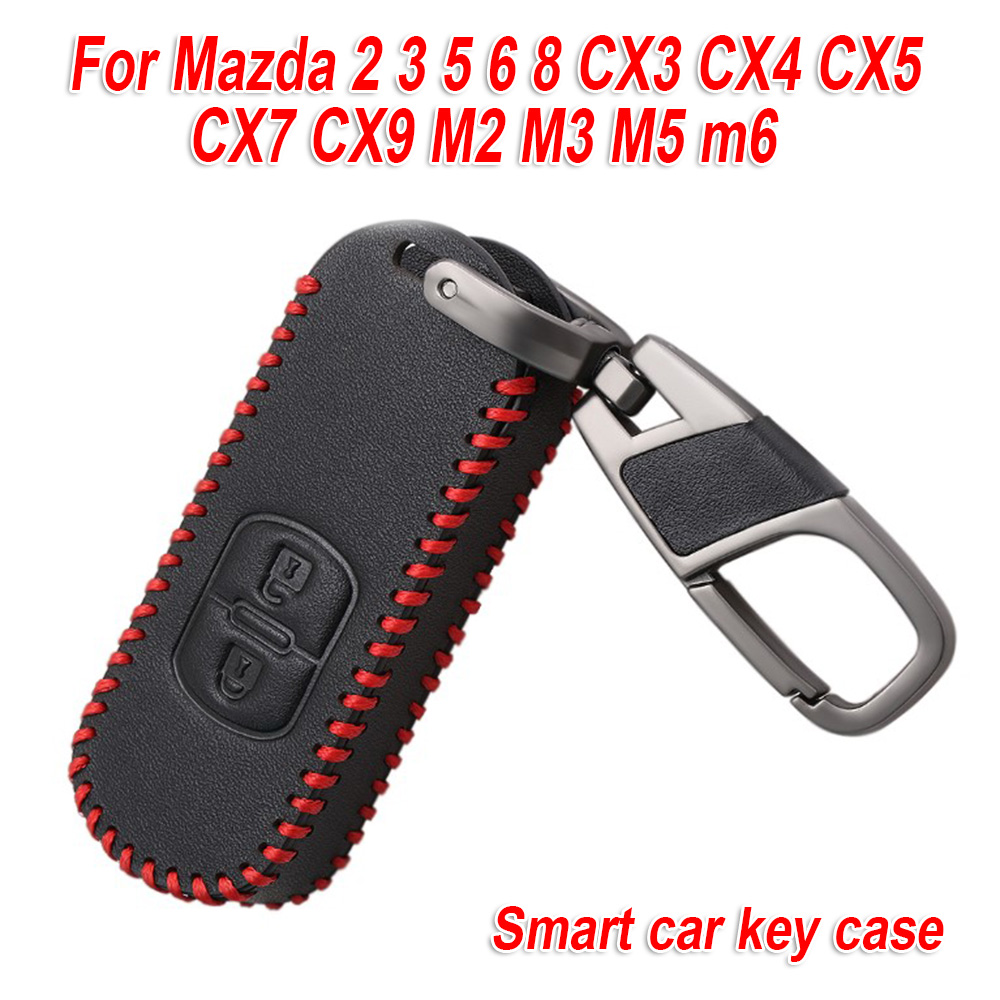 2 Buttons Car Key Case For <font><b>Mazda</b></font> 2 3 5 6 8 Axela Atenza CX3 CX4 <font><b>CX</b></font> 5 CX5 <font><b>CX</b></font> 7 <font><b>CX</b></font> <font><b>9</b></font> Auto <font><b>Accessory</b></font> Leather Protector image