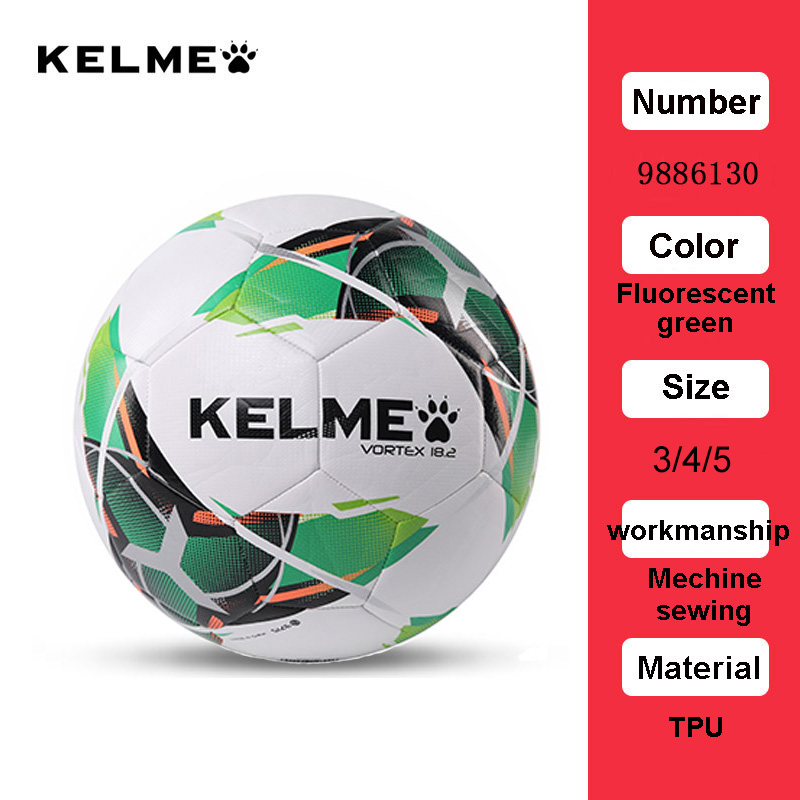 KELME Professional Football Soccer Ball TPU Size 3 Size 4 Size 5 Red Green Goal Team Match Training Balls 9886130 12