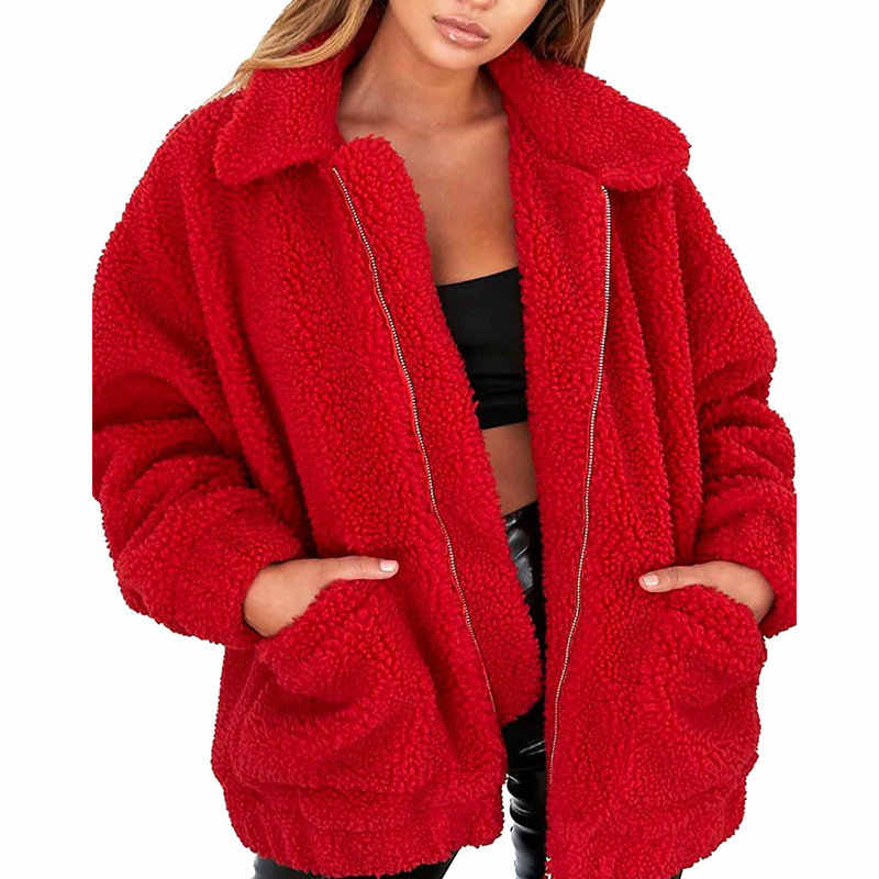 New Plus Size Faux Fur Bear Jacket Autumn Winter Teedy Coat Women Soft Zipper Bomber Jacket Oversized Long Sleeve Coat Outerwear