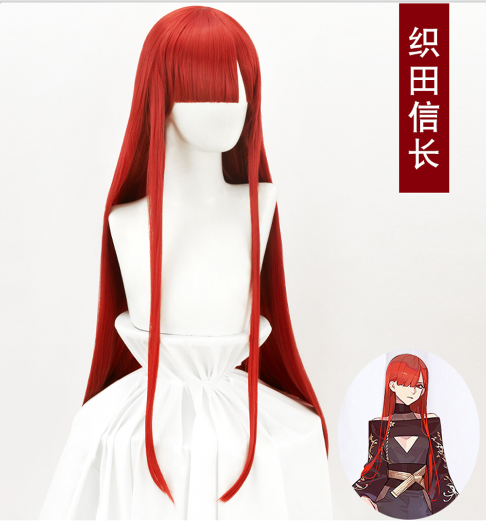 HSIU Game FGO Oda Nobunaga Wig Fate / Grand Wig Day 6 Demon Red Halloween Dress Red Long Straight Hair
