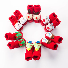Fall winter Terry Padded Stereo Cartoon Baby Shoes Socks Christmas Baby Slip Toddler Red Floor Socks  Newborn Baby Shoes