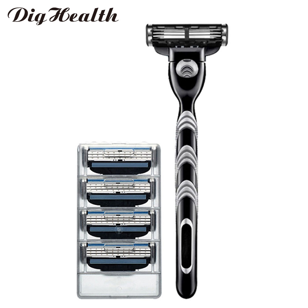 Dighealth Black 5pcs/set 1 Machine + 4 Blades Manual Men Hair Removal Shaving Razors With Replaceable Razors Blades