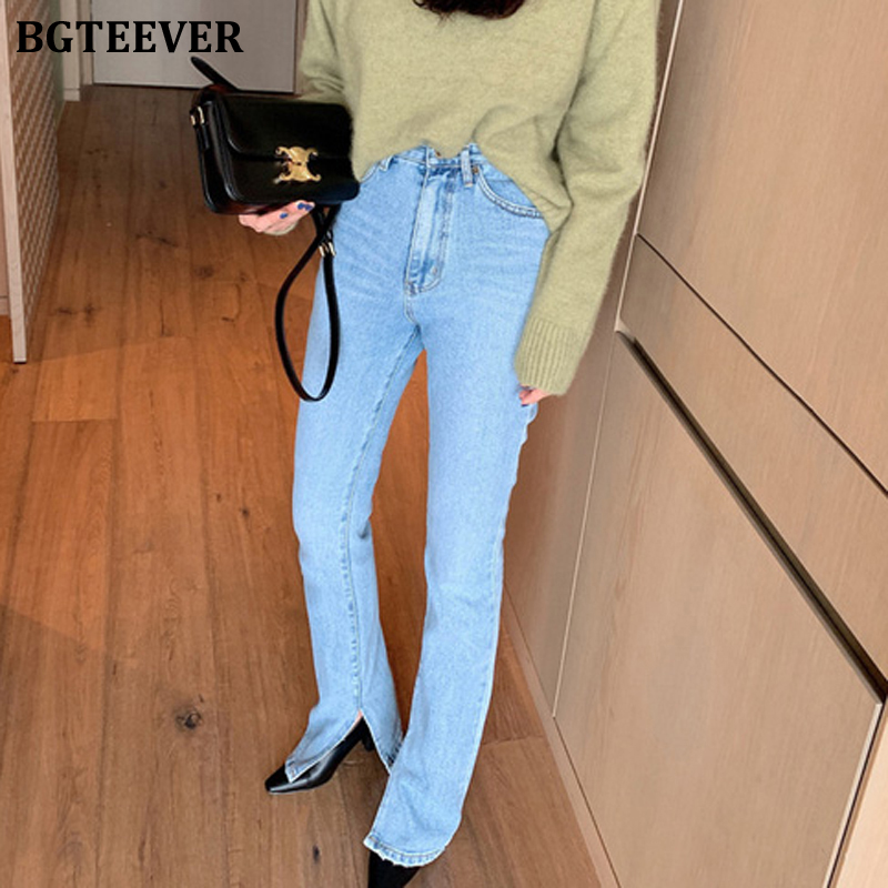 BGTEEVER Vintage Flare Jeans Blue High Waist Button Split Floor-length Women Denim Jeans Fashion Female Denim Pant 2020 Spring
