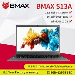 Nova chegada bmax s13a 13.3 polegada intel notebook window10 8gb lpddr4 128gb ssd 1920*1080 ips intel 3350 laptops