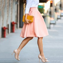 Женская юбка, высокая талия, а-силуэт, большая юбка миди, Ретро стиль, Офисная женская элегантная юбка, три цвета